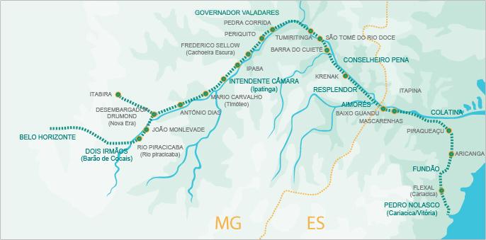 A Estrada de Ferro Vitória a Minas (EFVM) opera o único trem de passageiros diário no Brasil que liga duas regiões metropolitanas: Cariacica (ES) e Belo Horizonte (MG).
